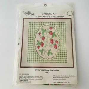 "VTG 1973 Crewel Kit Strawberry Gingham 14"" x 14"""